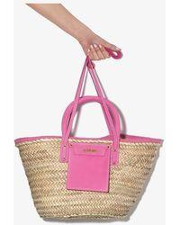 Jacquemus Pink Le Panier Soleil Straw Basket Bag