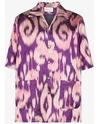Gucci New Vintage Printed Chine Bowling Shirt - Purple