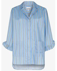 Ganni - Software Striped Cotton Pyjama Shirt - Lyst