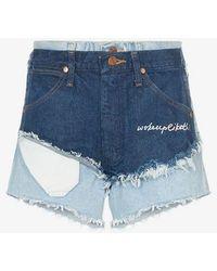 Natasha Zinko High Waist Double Layered Denim Shorts - Blue