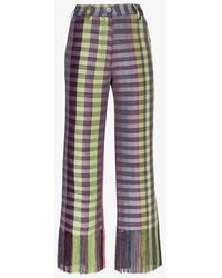 Kenneth Ize Purple Okatu Checked Flared Trousers