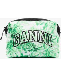 Ganni Rose Logo Makeup Bag - Green