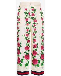 Gucci Rose Garden Print Silk Pajama Pants - Red