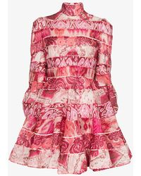 Zimmermann Ikat Print Mini Dress - Pink