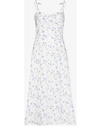 Reformation Joyce Floral Linen Midi Dress - White