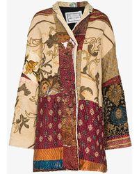 By Walid Basma Patchwork Silk Coat - Multicolor