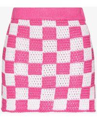 Frankie's Bikinis Jasper Checked Crochet Mini Skirt - Pink