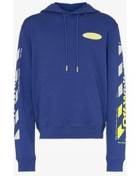 Off-White c/o Virgil Abloh Diagonal Arrow Logo Print Cotton Hoodie - Blue