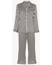 Olivia Von Halle Lila Striped Silk-satin Pyjama Set - Black