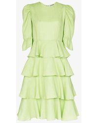 BATSHEVA Tiered Ruffle Midi Dress - Green