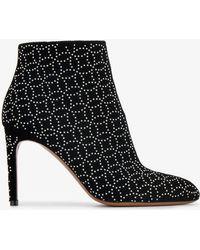 Alaïa - Black Studded 90 Suede Ankle Boots - Lyst