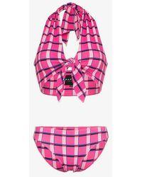 Paper London Fiji Halterneck Miami Check Print Bikini - Pink