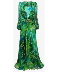 Versace Jungle Print Silk Maxi Dress - Green