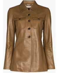 Chloé Tailored Leather Blazer - Brown