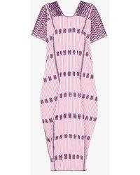 Pippa Holt Embroidered Striped Kaftan Dress - Purple