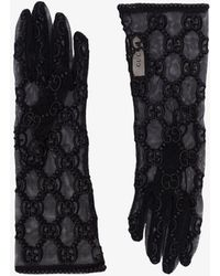 Gucci GG Logo Macrame Lace Gloves - Black