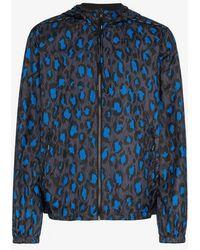 KENZO - Blue, Black And White Leopard Print Reversible Windbreaker - Lyst