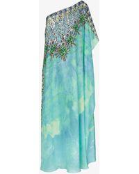 Kimberly Mcdonald - One-shoulder Jewel Print Silk Kaftan Gown - Lyst