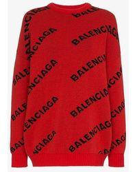 Balenciaga Intarsia Logo Wool Blend Jumper