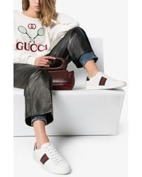 Gucci White New Ace Leather Trainers