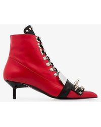 Marques'Almeida Red Spiked Ankle Boots