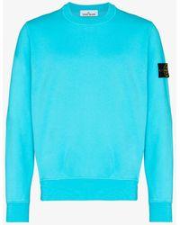 Stone Island Crew Neck Fleece Sweatshirt - Blue