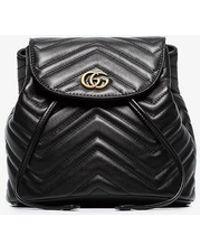 313746bf47c8 Gucci - Ladies Black Chevron Leather GG Marmont Matelassé Backpack - Lyst