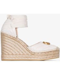 Gucci Pilar 120mm Quilted Leather Espadrilles - White