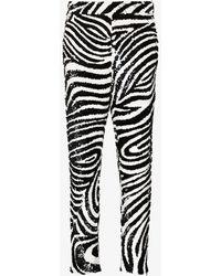 Ashish Zebra Sequinned Trousers - Black