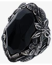 Lyly Erlandsson Silver And Black Resin Winter Ring
