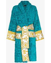 Versace I Love Baroque Cotton Robe - Blue