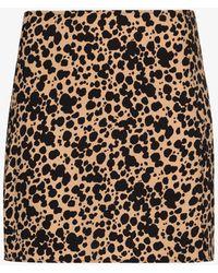 Reformation Margot Leopard Print Mini Skirt - Brown