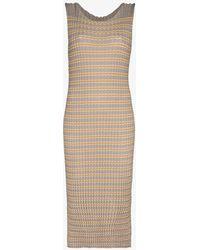 Issey Miyake Spongy Striped Midi Dress - Natural