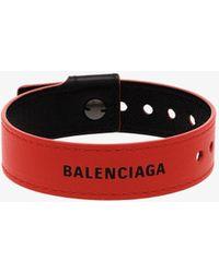Balenciaga Red Party Logo Leather Bracelet