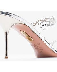 Aquazzura Heaven 75 Crystal Leather Sandals - Metallic