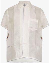 Bode Sheer Pagoda Embroidered Shirt - White