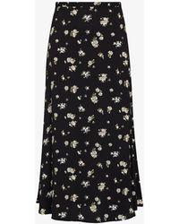 Reformation Bea Daisy Print Midi Skirt - Black