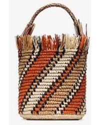 Sensi Studio Orange Striped Bucket Bag - Multicolour