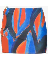 Louisa Ballou Double Ring Printed Mini Skirt - Orange