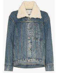 Sandy Liang - York Shearling Collar Denim Jacket - Lyst
