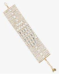 Rosantica - Metallic Crystal Embellished Wide Bracelet - Lyst