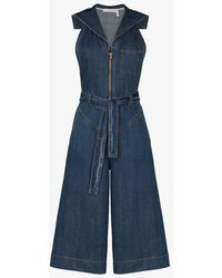 See By Chloé Cropped Denim Jumpsuit - Blue