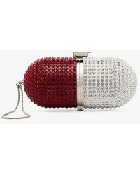 Marzook - Red And White Crystal Embellished Pill Bag - Lyst