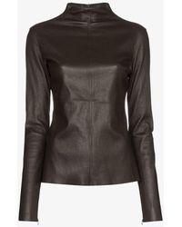 Bottega Veneta Turtleneck Stretch Leather Top - Brown