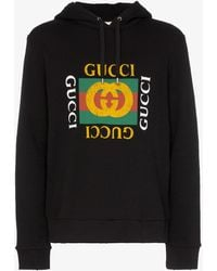 Gucci Fake Logo Hooded Sweatshirt - Black