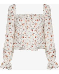 Reformation Pimento Floral Ruched Top - White