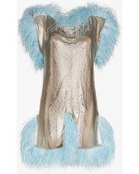 Christopher Kane Feather-trimmed Mini Dress - Metallic