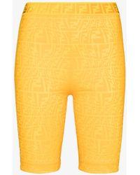 Fendi Ff Vertigo Cycling Shorts - Yellow