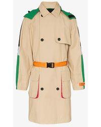Heron Preston Hooded Waist Belt Trench Coat - Multicolour