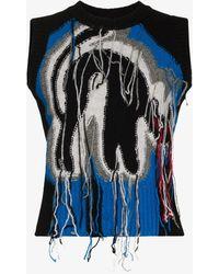 Charles Jeffrey LOVERBOY Guddle Tasselled Wool Jumper Vest - Blue